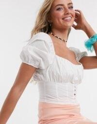 Bershka ruched top corset crop top in white