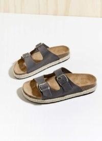 Mint Velvet Bex Grey Buckled Suede Sliders   moulded footbed dandals