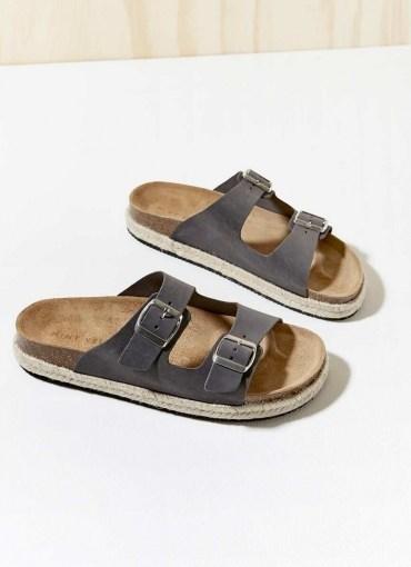 Mint Velvet Bex Grey Buckled Suede Sliders | moulded footbed dandals - flipped
