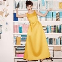 L.K. BENNETT BIARRITZ YELLOW SATIN MAXI DRESS / vintage look glamour / long yellow event dresses
