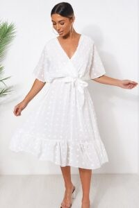THE FASHION BIBLE BIBA WHITE WRAP DOBBY DRESS