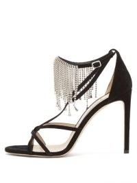 JIMMY CHOO Bijou 100 crystal-fringe suede sandals ~ strappy fringed stiletto heels
