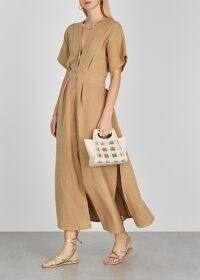 BIRD & KNOLL Ines taupe seersucker midi dress ~ open back plunge front dresses