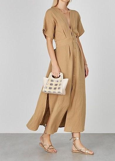 BIRD & KNOLL Ines taupe seersucker midi dress ~ open back plunge front dresses - flipped