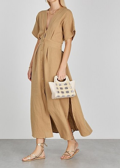 BIRD & KNOLL Ines taupe seersucker midi dress ~ open back plunge front dresses