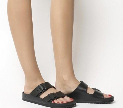 Kendall Jenner double strap footbed sandals, Birkenstock Arizona Eva Two Strap Sandal, out in Los Angeles, 7 July 2020   celebrity street style footwear - flipped