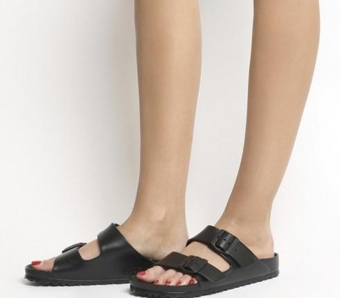 Kendall Jenner double strap footbed sandals, Birkenstock Arizona Eva Two Strap Sandal, out in Los Angeles, 7 July 2020   celebrity street style footwear