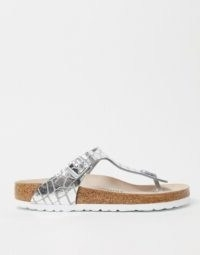 Birkenstock Gizeh sandal in gator silver | metallic footbed sandals
