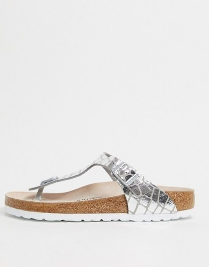 Birkenstock Gizeh sandal in gator silver | metallic footbed sandals - flipped