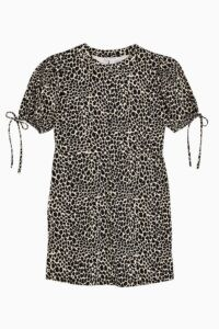 TOPSHOP Black And White Animal Print Tea Dress