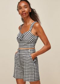 WHISTLES GINGHAM LINEN SHORT / black and white checked shorts