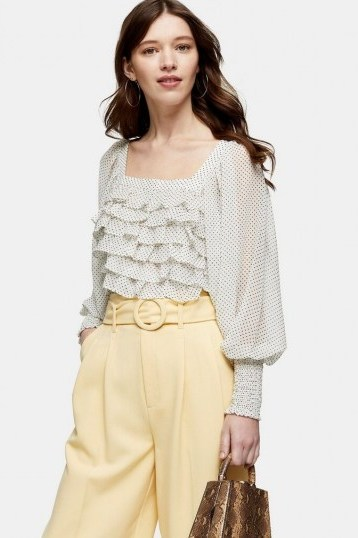TOPSHOP Black And White Spot Frill Body Top - flipped