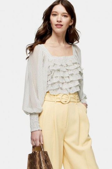 TOPSHOP Black And White Spot Frill Body Top