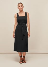 WHISTLES CLARA WRAP DRESS / black square neck summer dresses