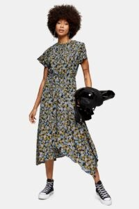 TOPSHOP Black Daisy Print Ruched Neck Midi Dress / asymmetric hemline dresses