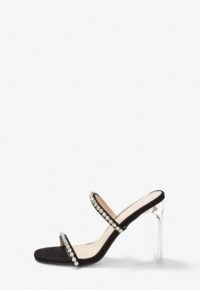 Missguided black diamante illusion heel sandals ~ double strap clear heeled sandal