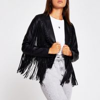 RIVER ISLAND Black faux leather fringe crop jacket ~ boho fashion