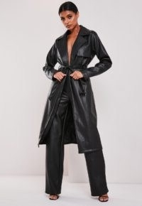 Missguided black faux leather trench coat ~ tie waist coats