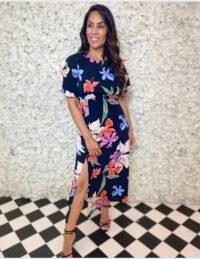 FOREVER UNIQUE Black Floral Tea Dress / split leg dresses