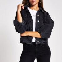 RIVER ISLAND Black long sleeve cinched waist denim jacket ~ casual outerwear