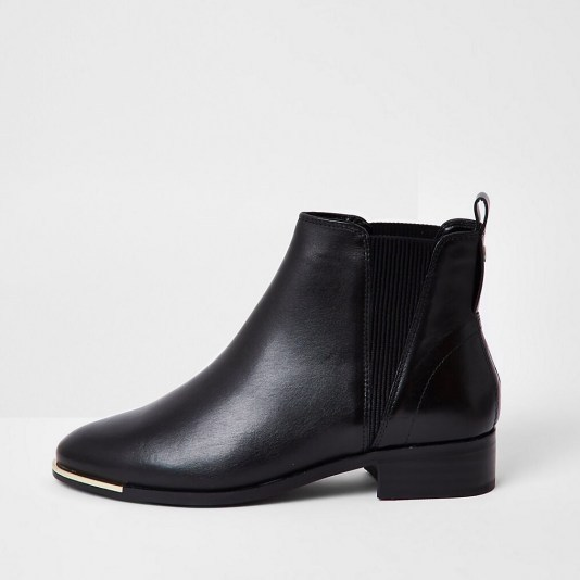 RIVER ISLAND Black metal toe chelsea boot ~ pull-on block heel boots - flipped