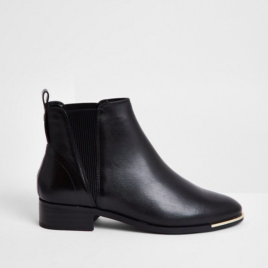 RIVER ISLAND Black metal toe chelsea boot ~ pull-on block heel boots