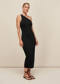WHISTLES ONE SHOULDER MIDI KNIT DRESS / LBD / asymmetric neckline dresses