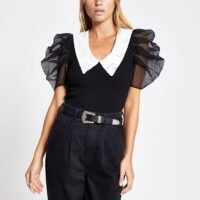 River Island Black organza short sleeve collar top | monochrome puff sleeved tops