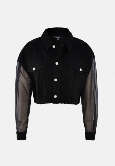 MISSGUIDED black organza sleeve cropped denim jacket ~ sheer sleeved jackets - flipped