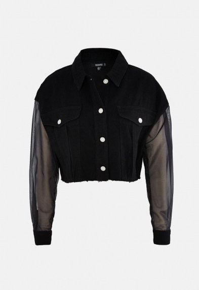 MISSGUIDED black organza sleeve cropped denim jacket ~ sheer sleeved jackets