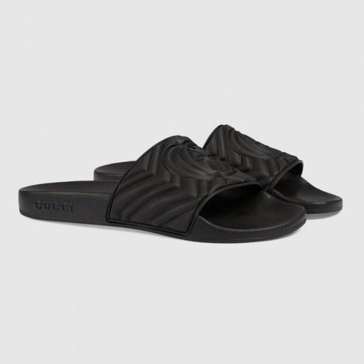 Olivia Munn black slides worn leaving the gym, 29 July 2020, GUCCI matelassé rubber slide | casual celebrity footwear