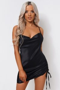 The Fashion Bible BLACK SATIN RUCHED SLIP DRESS | LBD