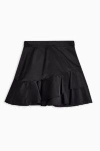 Topshop Black Sheen Ruffle Mini Skirt | ruffled skirts | asymmetric ruffles