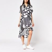 RIVER ISLAND Black spot printed midi shirt dress / ruffle trimmed dresses / asymmetric hemlines