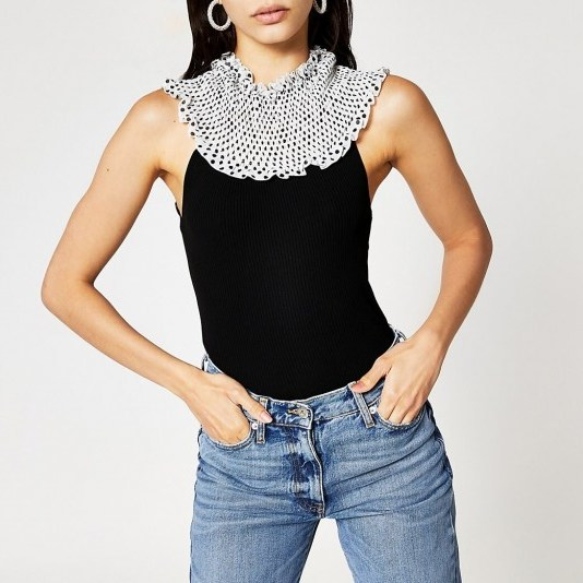 RIVER ISLAND Black spot printed turtle neck top / ruffled collar sleeveless top - flipped