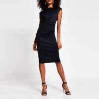 River Island Black v neck bodycon midi dress | open back LBD