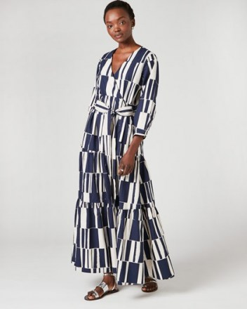 JIGSAW BLOCK STRIPE WRAP DRESS / navy and white waist-tie maxi