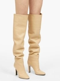 SAINT LAURENT Blu knee-high leather boots ~ slouchy beige boots