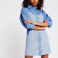 RIVER ISLAND Blue denim boucle mix shirt dress ~ puff sleeve dresses