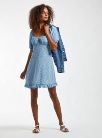 MISS SELFRIDGE Blue Ditsy Sweetheart Mini Dress / frill hemline dresses