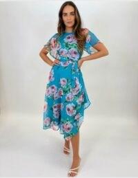 FOREVER UNIQUE Blue Floral And Butterfly Mix Print Tea Dress / asymmetric hemline dresses