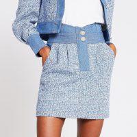 RIVER ISLAND Blue high waisted boucle mix denim skirt