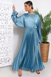 THE FASHION BIBLE BLUE LONG SLEEVE MAXI DRESS | slinky pleated dresses