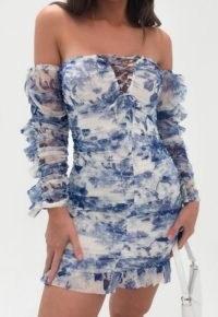 Missguided blue porcelain print mesh ruched mini dress ~ floral bardot bodycon dresses