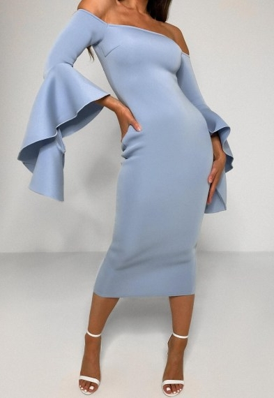 Missguided blue scuba bardot ruffle midi dress ~ evening glamour ~ exaggerated sleeve bodycon dresses