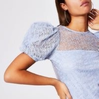 River Island Blue short sleeve lace puff sleeve top