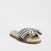 River Island Blue striped espadrille bow sandal | studded canvas detail slides | flat stud embellished sandals