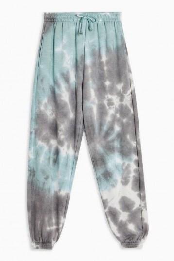 TOPSHOP Blue Tie Dye Joggers / cuffed jogging bottoms - flipped