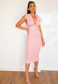 Missguided blush ruched tulle and faux leather midaxi dress ~ plunge front bodycon dresses