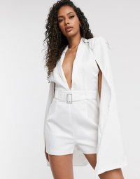 Boohoo belted cape playsuit in white